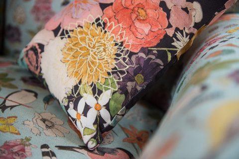 Abigail Bury Emboridered Floral Posy Cushion