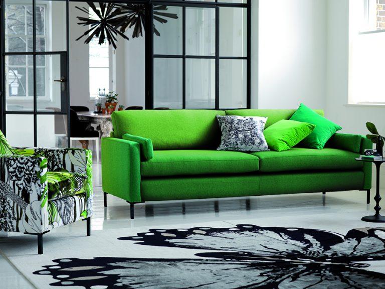 Metro Sofa in Christian Lacroix Boratti Capisoli Grass handcrafted by Delcor