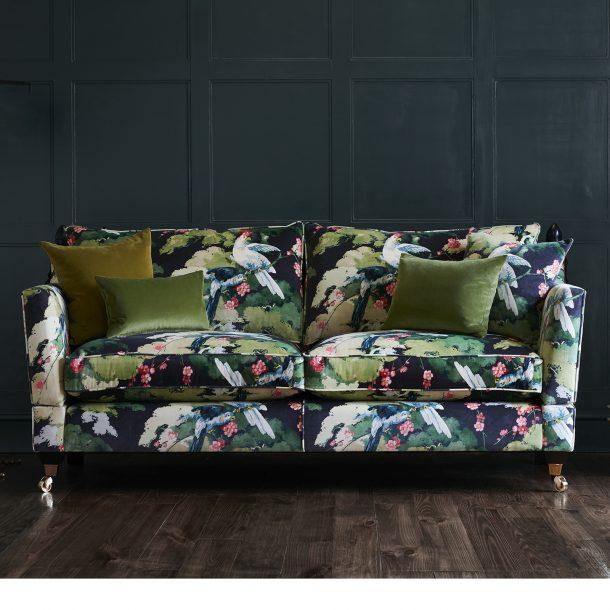 Ambassador Sofa in Linwood Fabrics 'Jungle Jive' by Delcor
